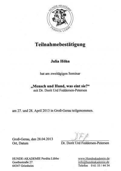 Fortbildung Perdita Lübbe Mensch und Hund 2013