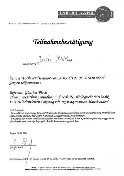 Fortbildung Sabine Lang Aggressive Haushunde 2014