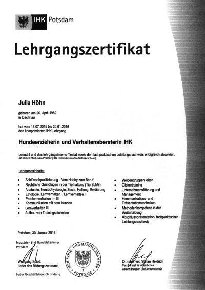 Zertifikat IHK Lehrgang Hundeerzieherin 2016