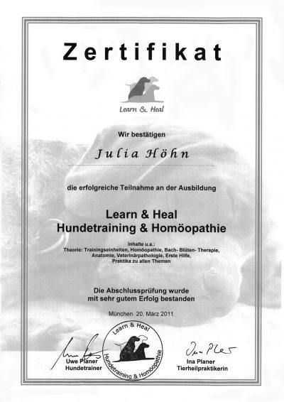 Zertifikat Learn & Heal Hundetraining 2011
