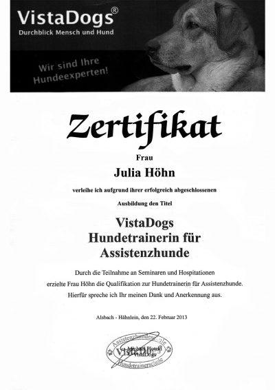 Zertifikat VistaDogs Hundetrainerin für Assistenzhunde 2013